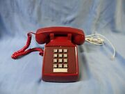 Vintage Bell System Red Touch Tone Modular Phone Tested And Works Well