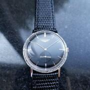 Mens Mid Size Longines 32mm 14k Solid White Gold Diamond 1970s Dress Watch Ms204