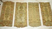 French Antique Needlepoint Panels 4 Pcs. Gorgeous Upholstery Walls 42 Tall
