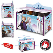 Frozen 2 Toy Box Safety Lid Wood Storage Kids Furniture Elsa Anna Seat Chest New