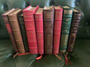 Tx Estate 9 Pc Franklin Library Lot Leather Cover Faulkner Pearl Buck Steinbeck