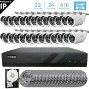 32 Channel 4k 8mp Poe Nvr 24x5mp Hd Ip Bullet Camera Cctv Security System 8tb