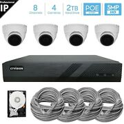 8 Channel 5mp Poe Nvr 4 X 5mp Hd Ip Dome Camera Cctv Security System 2tb Hdd