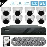 16 Channel 5mp Poe Nvr 8 X 5mp Hd Ip Dome Camera Cctv Security System 2tb Hdd