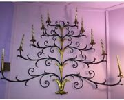 """Vintage Mid Century Modern Hollywood Regency Wall Sconce Candleabra 58""""w X 48""""h"""