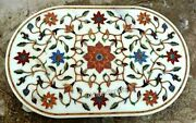 36 X 48 Inches Marble Office Table Top Pietra Dura Art Dining Table With Stones