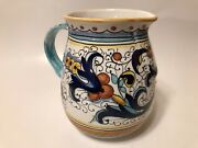 Deruta Italy Ceramic Pitcher Hand Painted Pottery 6 1/4''
