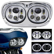 Motorcycle Projector Dual Led Headlight For Harley Road Glide Headlamp Chrome