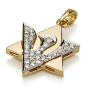 18k Two Tone Gold Star Of David Necklace Shin And Dove Charm Diamond Dazzling 17mm
