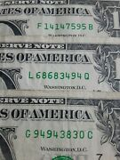 1 One Dollar Bill X 3 Unique Serial Numbers 1414/ 6868/ 9494/  M5