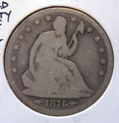 1874 Silver Seated Liberty Half Dollar With Arrows