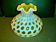 Fenton Honeysicle Coin Dot Opalescent Glass 10 Rufled Lamp Shade, 1948-1949 New