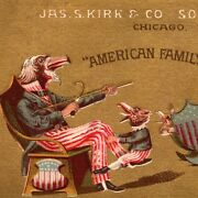 1880's Uncle Sam Eagle American Family Patriotic Kirk Soap Victorian Trade Card