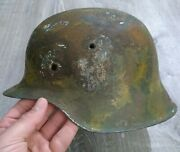 All Original M42 Single Golden Decal Extremely Rare German Army Camo Helmet