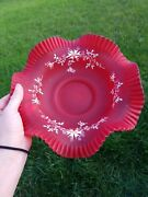 Consolidated Glass Red Satin Pigeons Blood Crimped Bowl Handpainted