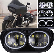 Motorcycle Led Headlight Dual Projector Angel Eye For Harley Road Glide 2004-13
