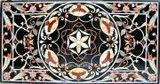 36 X 72 Inches Multi Color Stones Art Garden Table Top Marble Patio Dining Table