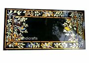 Floral Border Art Rectangle Dining Table Top Marble Meeting Table 30 X 60 Inches