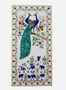 24 X 48 Inch Peacock Pattern Inlaid Wall Scenery Elegant Marble Center Table Top