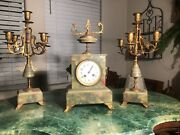 French Mantel Clock And Candle Operas Green Onyx And Bronze
