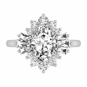 1.35 Ct Genuine Diamond Woman Engagement Ring 14k Solid White Gold Size 5 6 7 8