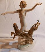 Hutschenreuther Art Deco Nude Woman Frolicking With Leopards