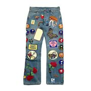 X Elton John Multi Patch Work Washed Denim Jeans Size 48 Rrp Andpound3600