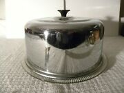 Vintage Glass Cake Plate With Metal Cover