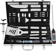 Grilljoy 24pcs Bbq Grill Tools Set With Meat Thermometer And Injector - Extra Th