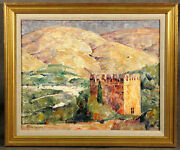 20th Century American Oil Painting By Dines Carlsen 1901-1966 Castle Landscape