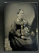Lovely Antique Tintype Photo Older Woman W Fancy Floral Bow Tie 1880s