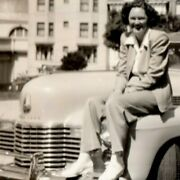 1941 Bandw Photograph - Woman Sitting And Smiling On A Cadillac Series 63 Vgc
