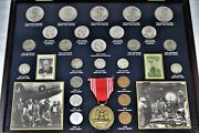 World War Ii Coins And Stamps Historic Collection In Wood Display Case 21404