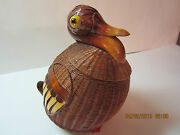 Vintage Wicker Animal-duck Basket-wood Neck Bill Tail And Feet-well Constructed