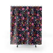 Retro 80's Punk Glam Goth Halloween Skeleton Pink And Purple Floral Shower Curtain