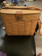Vintage Longaberger Baskets Purse With Lid Turnlock Leather Crossbody Strap