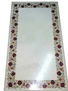 30 X 60 Inch Marble Dining Table Top Inlay Reception Table With Carnelian Stone