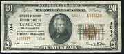 1929 20 Bay State Merchants Nb Of Lawrence, Ma National Currency Ch. 1014