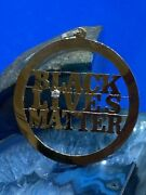 Large 14k Yellow Gold Black Lives Matter Blm Pendant With Diamond Accent Stone