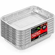 25 Pack Aluminum Drip Pan Drip Liners Grill Disposable Tray Bbq Grease Stackable