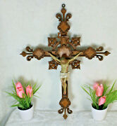 Antique French Wood Carved Neo Gothic Crucifix Ceramic Christ Rare