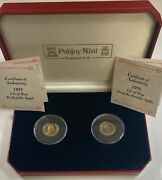 1995 2 Coin Set Isle Of Man Angel And Noble Proof Bi-metallic Gold And Platinum