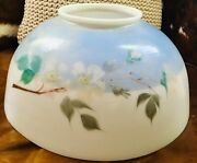 Antique 14 Opaque Glass Two Tone Kerosene Hanging Dome Lamp Shade Hand Painted