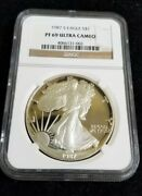 1987 S Proof Silver Eagle Ngc Pf 69 Ultra Cameo