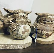 """15x9.5"""" Large Chinese Foo Dog Dragon Carving Statues Unique Vintage Right"""