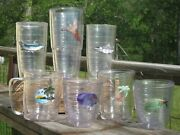 5 Insulated Tervis Tumblers +2 Kh Fishing Vacation Outdoor Beach Theme Lot Of 7