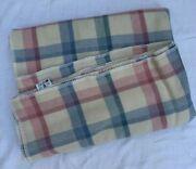 Vintage Faribo Pure Wool Pastel Plaid Blanket Queen Size W/ Stain 85.5x94 Usa