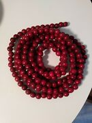 Wood Beaded Garland Strands Of 9and039 Vintage Dark Red Christmas Tree Primitive