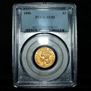 1888-p 3 Gold Piece ✪ Pcgs Au-55 ✪ Almost Uncirculated About L@@k Now ◢trusted◣