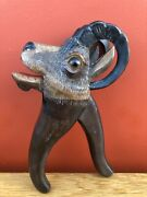 Antique Black Forest Alpine Ibex Carved Wood Nutcracker With Glass Eyes